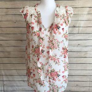 Marisol Semi-Sheer Floral Tie Blouse
